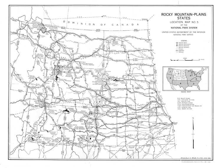 Rocky Mountains Plains States 1944 From National Park Location Map No 5 1944
