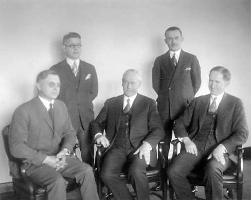 Stephen Tyng Mather and his staff in Washington, D.C., 1927 or 1928. From left to right, Arno B. Cammerer, Arthur E. Demaray, Stephen T. Mather, George A. Moskey and Horace M. Albright