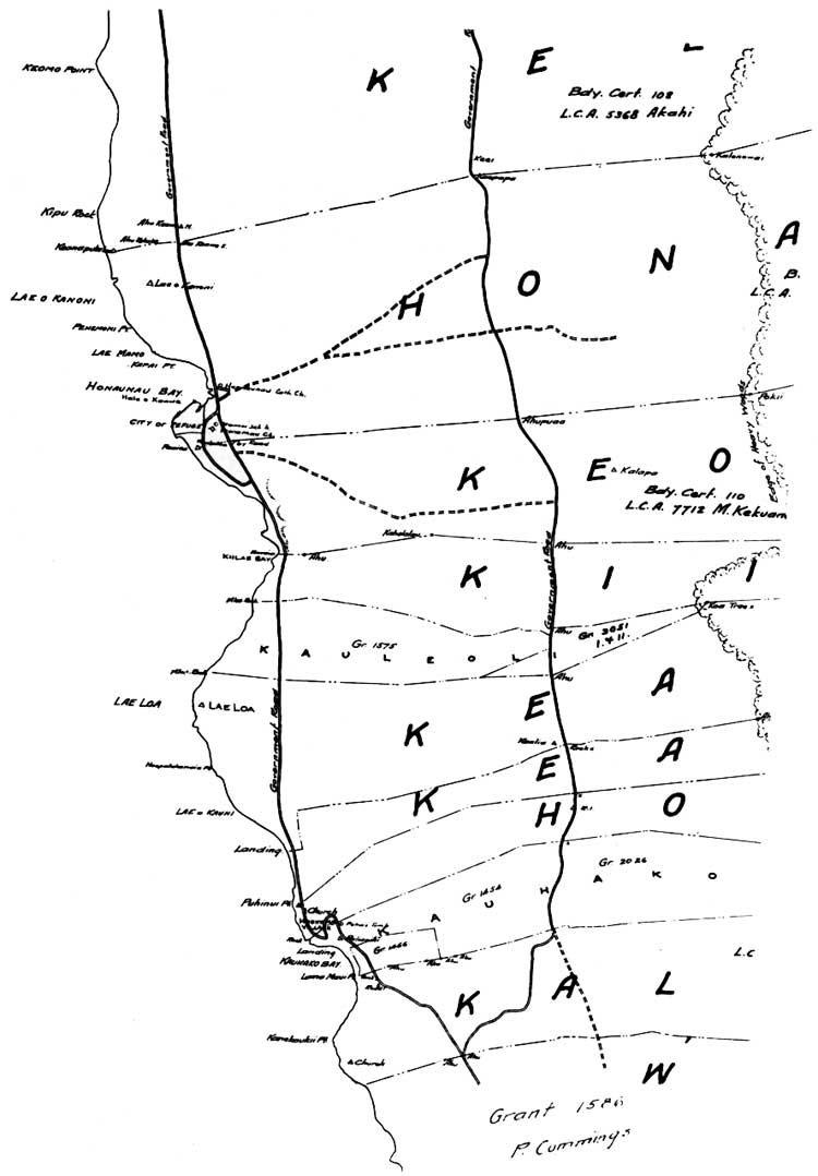 A cultural history of three traditional hawaiian sites on the west detail of honaunau section south kona hawaii wa wall 1895 96 this shows some of the structures and the road system around the city of refuge nvjuhfo Gallery