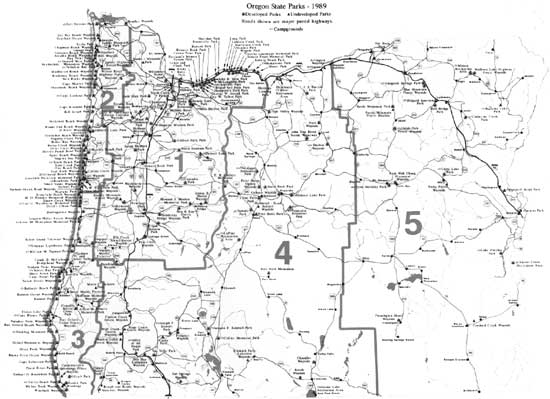 Oregons Highway Park System An Administrative - Map of oregon highways