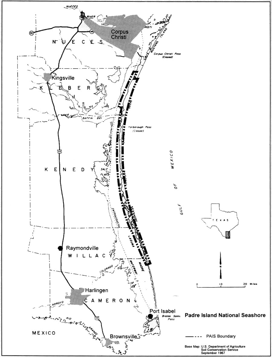 Mustang Island Mile Marker Map