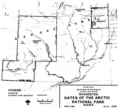 map of proposed Gates of the Arctic NP, 1969