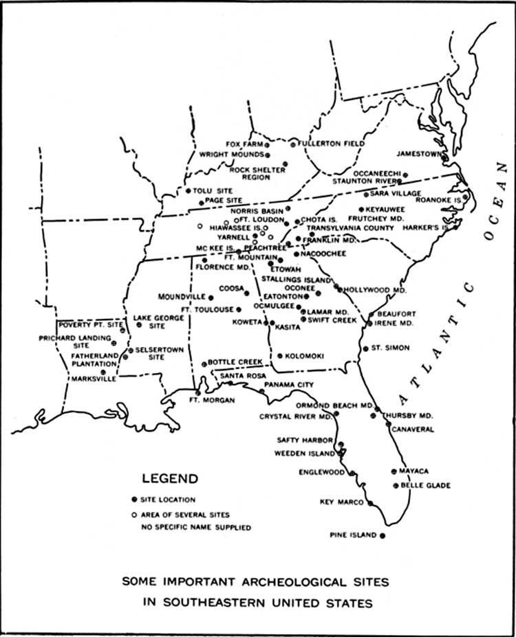 Map Of Important Southeastern Archaeological Sites